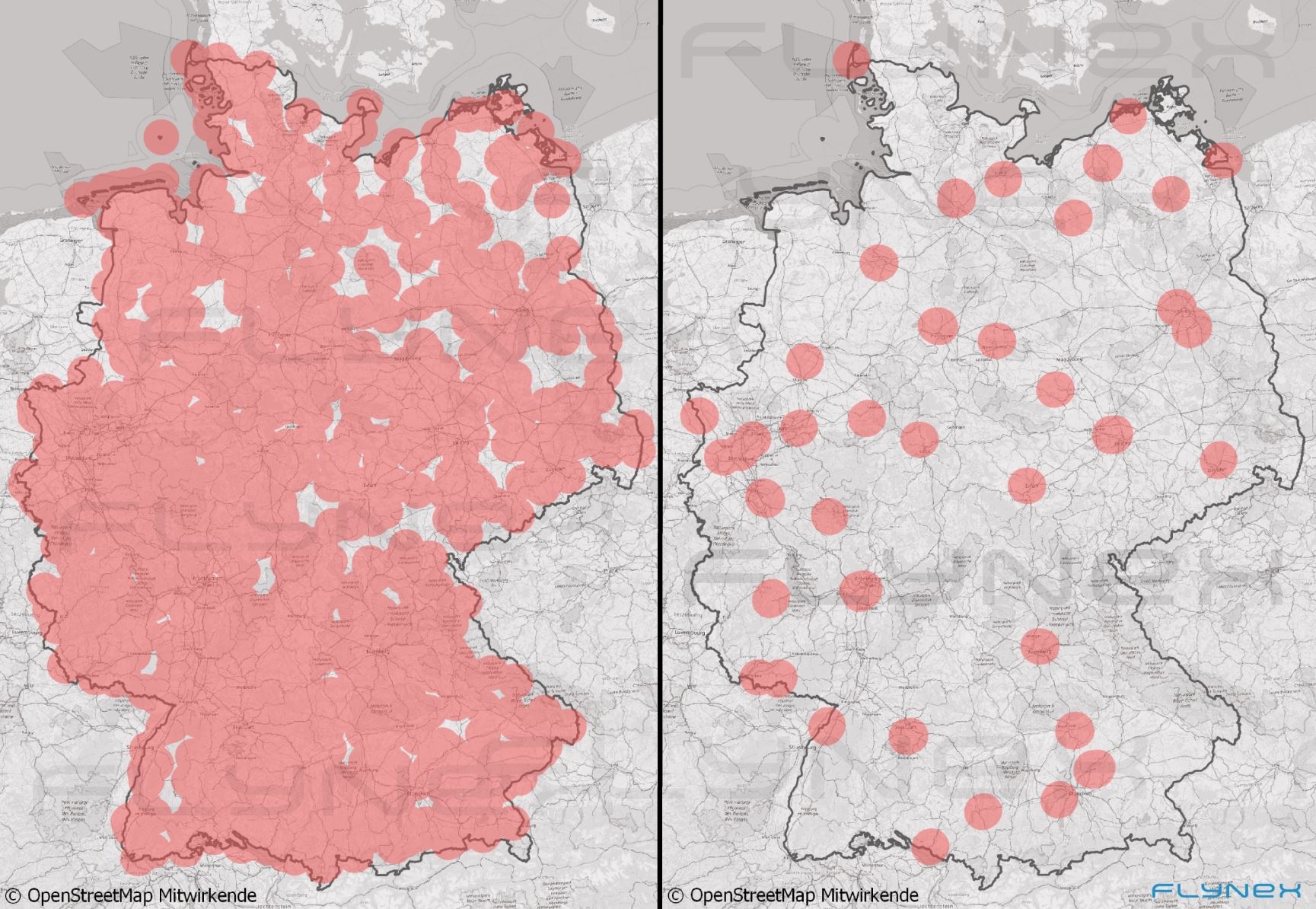Map of Germany with markers in comparison