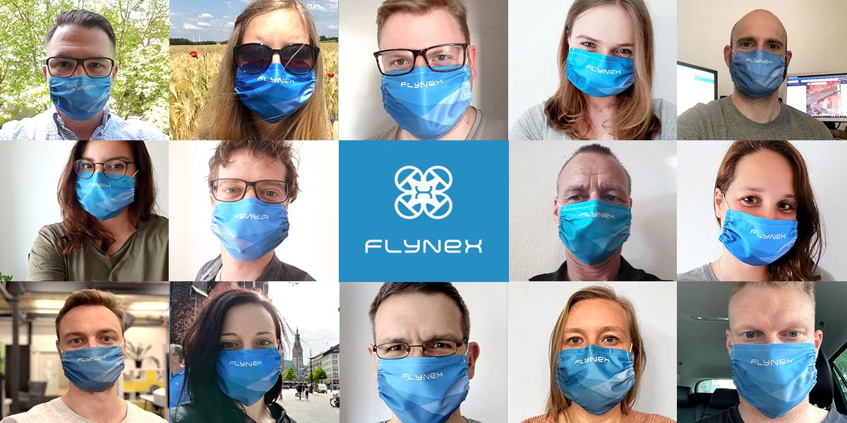 Collage FlyNex Team mit Maske