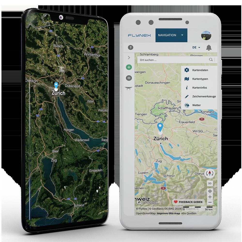 Map2Fly Zürich Schweiz Drohne Karte