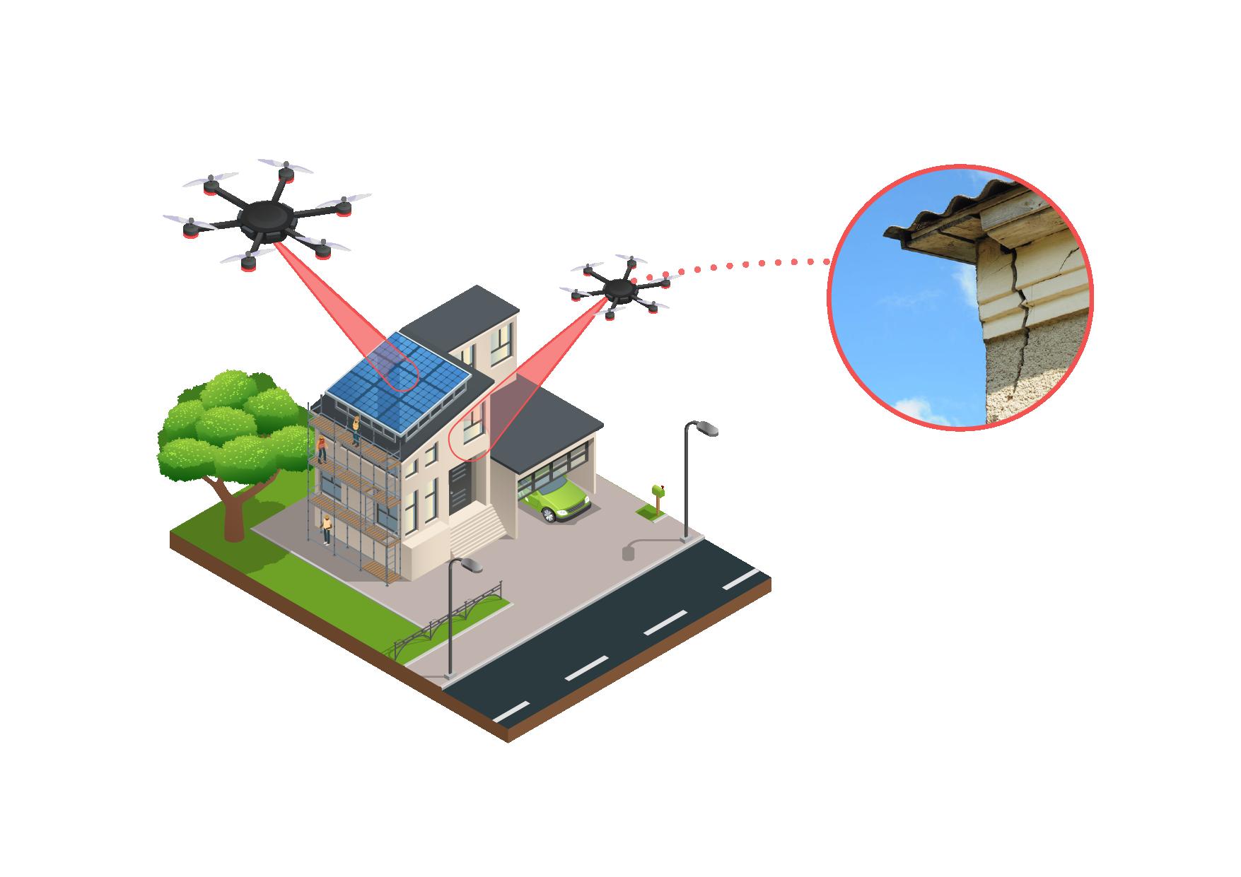 Schaubild Gebäudeinspektion mit Drohne
