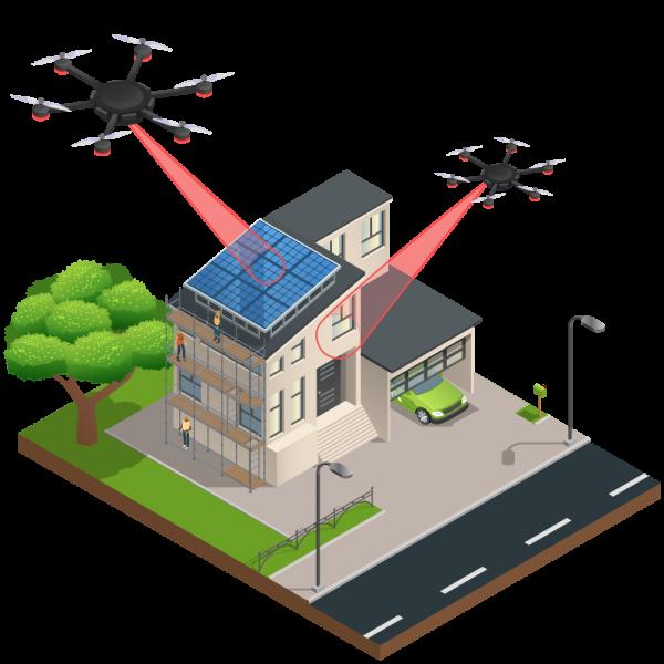 Grafik Dachinspektion mit Drohne