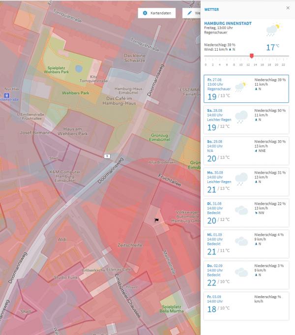 Screenshot Map2Fly Wetter-Daten