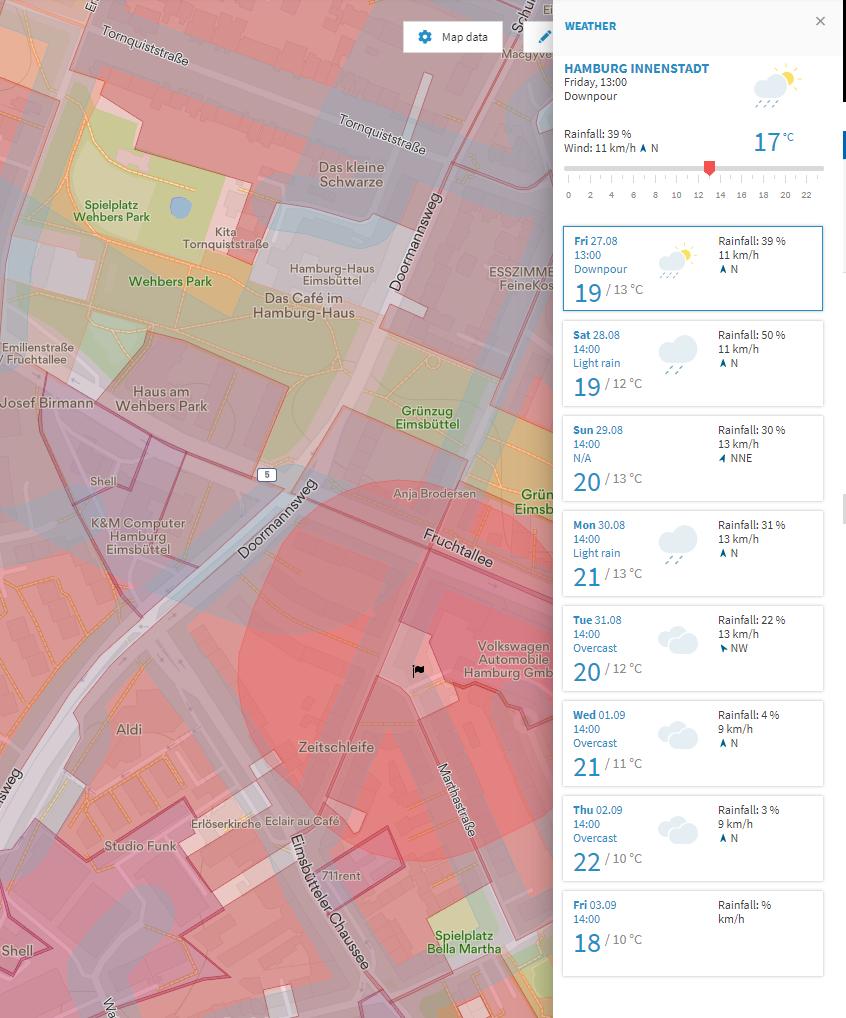 Screenshot Map2Fly Weather Data